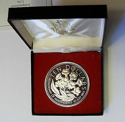 1975 Bahamas Huge Sterling Silver Proof $10 Flowers-box
