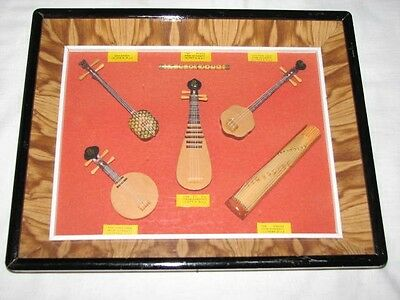 Wood Instruments Shadow Box Chinese Old Art Yueh Chin Ming Dynasty Cheng FLUTE