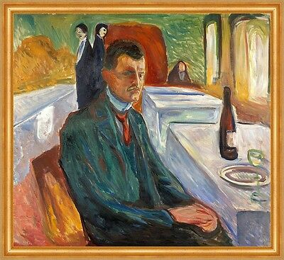 Self-Portrait with a Bottle of Wine Edvard Munch Wein Maler Glas B A1 01514