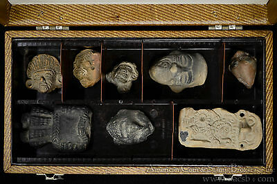 8 Piece Pre-Columbian Artifact Collection In Box. Probable Mayan And Others.