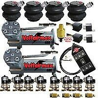 "VoltAirMaxxx 480C Compressors 1/2"" Valves Air Ride 2600 Bags 14Switch Controller"