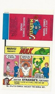 "1979 Marvel Comics Bubble Gum Unused Wrapper ""Incredible Hulk"" #24"