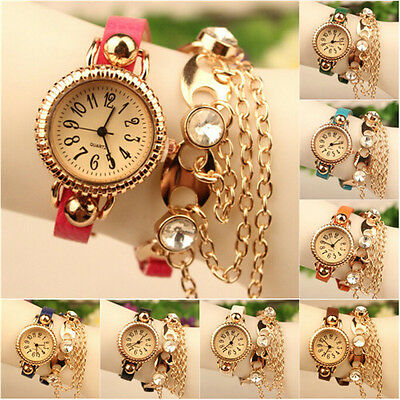 Exquisite Girl Rhinestone Leather Golden Sling Chain Bracelet Quartz Wrist Watch