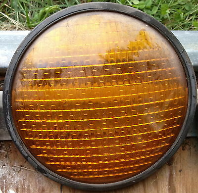 "Yellow Traffic Signal Stop Light Lens for 8"" Heads Glass Very Good Condition"