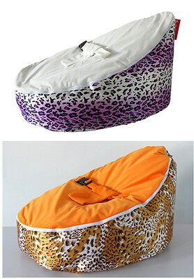 UNFILLED Leopard Print  2 Layer Baby Bean Bag Chair/Bed Todler Kid Portable Seat