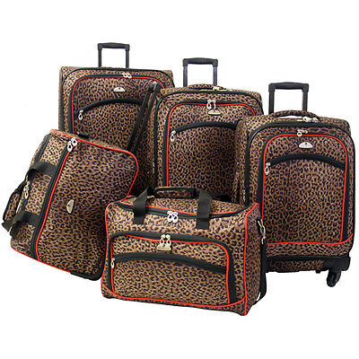 American Flyer Animal Print 5-Piece Spinner Luggage Set - Leopard Red