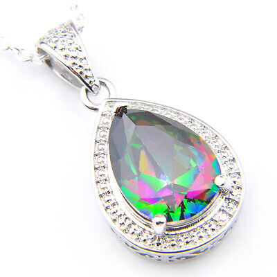 Woman Silver Love Heart Rainbow Mystical Topaz Gemstone Silver Necklace Pendant