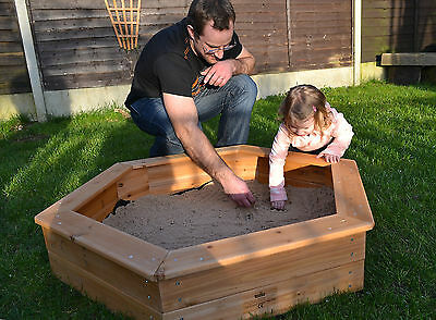 Wooden sandpit 1.2m 4ft Hexagonal with cover and underlay treated  garden play