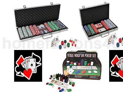 200/300/500 Piece Texas Hold'em Poker Professional Casino Game Chips Set In Case