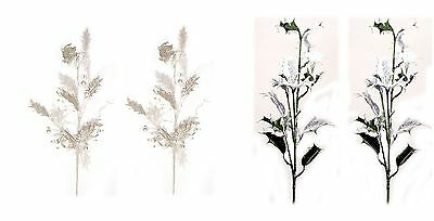 Platinum Silver or Snow Holly Wired Christmas Sprays Picks Floral Decor NEW Lot