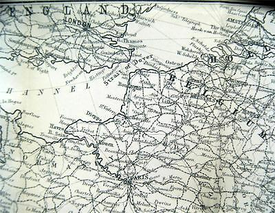 Satchel Guide Map Of Central Europe 1893 Vintage France Germany Italy
