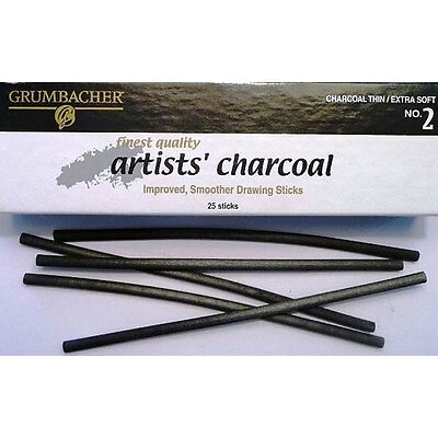 50 Grumbacher Artists' Charcoal Thin No. 2 Extra Soft