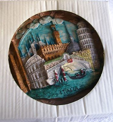 ITALIAN SOUVENIER 9 INCH PLATE, SHOWS VARIOUS ITALIAN CITIES, MADE OF HARD RESIN