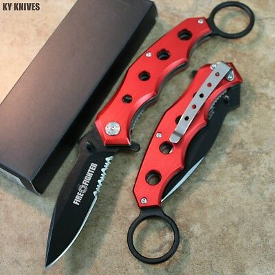 """9"""" Fire Dept. Red Tactical Combat Assisted Open Pocket Knife NEW 2758-RD zix"""