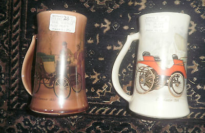 pair of colorful McCoy Vintage Automobile Mugs (BOGO)