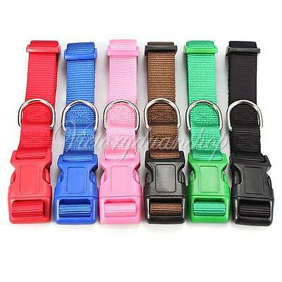 Adjustable S/M/L Nylon Pet Dog Cat Puppy Spring Safety Buckle Lead Collar Leash