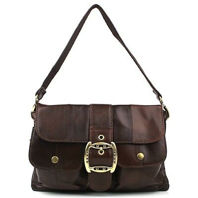Women Vintage Style Genuine Leather Small Cross Shoulder Bag (#NAO12, Brown)