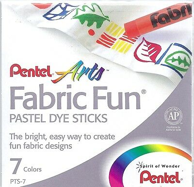 PENTEL FABRIC FUN PASTEL DYE STICKS ~ 7 PIECE ~ NEW!!