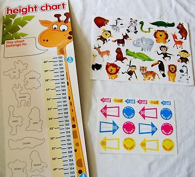 New Jungle Animal Height Chart With Over 40 Stickers