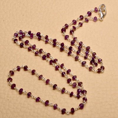 """24"""" NATURAL AMETHYST GEMSTONE WHITE COPPER FACETED RONDELLE NECKLACE"""