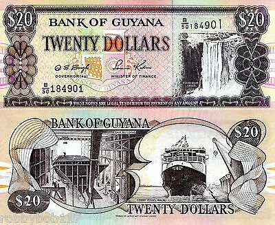 GUYANA 20 Dollars World Paper Money Banknote Pick p30c UNC Currency Note Bill
