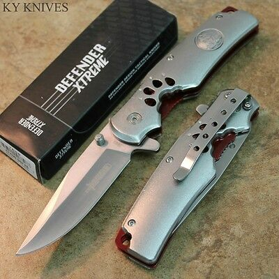 "8"" Wolf Imprint Tactical Assisted Open Pocket Knife Silver W/Red Inlay 7660 zix"