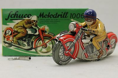Schuco  Motodrill #1006 Tinplate/Wind-Up Red & Tan  Motorcycle W/Rider