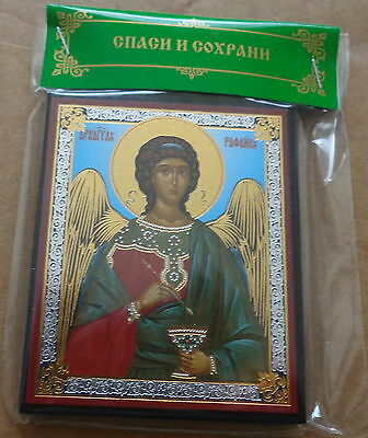 Russian wood icon Archangel St Raphael