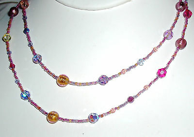 Beautiful Pastel Murano Glass and Crystal Necklace