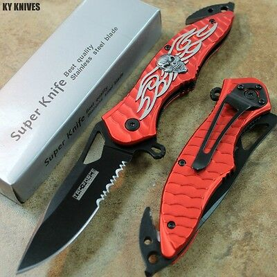 """8"""" RED Skull Tac Force Assisted Open Rescue Pocket Knife NEW! TF-734RD zix"""