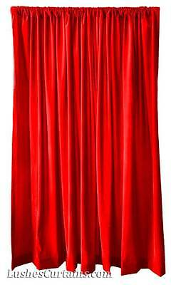 Custom Wide Exhibit Expo Display Drapery Red Velvet 11ft High Curtain Long Panel