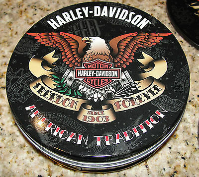 Harley Davidson American Tradition Set Of 4 Coasters & Tin Tattoo Inspired L@@k