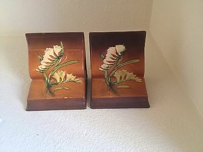Authentic Roseville Pottery Freesia Boookends