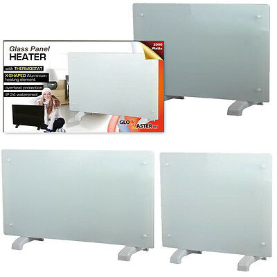 Electric Panel Heater Radiator Glass White Portable Free Standing Wall Mounted