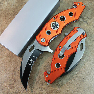 "7.5"" EMS Assisted Open Tactical Karambit Rescue Pocket Knife SE-516EMS zix"