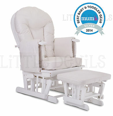 WHITE WOOD - CREAM SUPREMO BAMBINO Nursing Glider Rocking Maternity Chair Stool
