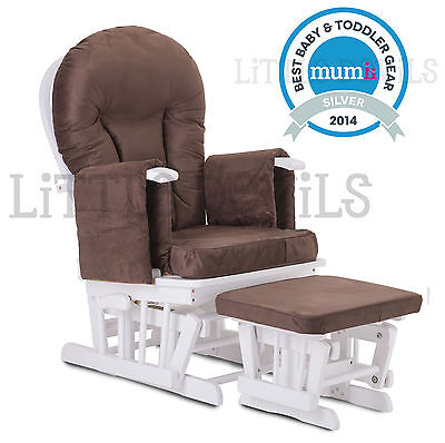 WHITE WOOD - BROWN SUPREMO BAMBINO Nursing Glider Rocking Maternity Chair Stool