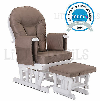 WHITE WOOD - MOCHA SUPREMO BAMBINO Nursing Glider Rocking Maternity Chair Stool