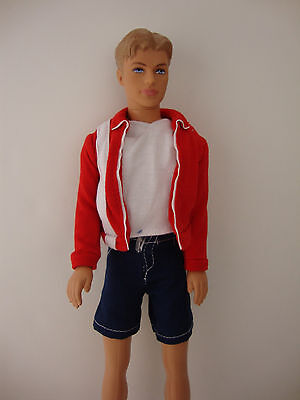 Red Jacket and Blue Board Shorts Made to Fit the Ken Doll