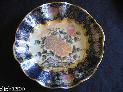 """ORNATE ORIENTAL 10.75"""" FLUTED HANDLED SHALLOW BOWL GILDED ENAMELS & SIGNATURE A"""