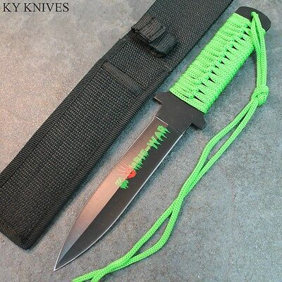"""11"""" Zombie War Full Tang Double Edge Hunting Knife,Green Cord Wrapped 7588 zix"""
