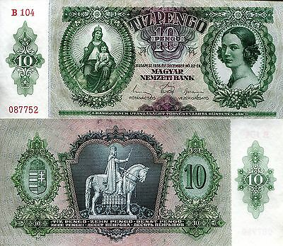 HUNGARY 10 Pengo Banknote World Paper Money Grades VF+ Used Currency  Pick p-100