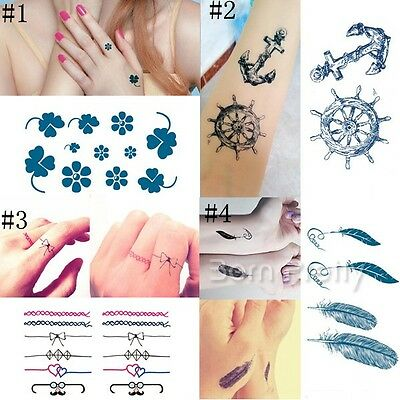 Tattoo Body Art Decal Waterproof Papier temporaire tatouage Plume Bowknot trèfle