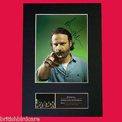 ANDREW LINCOLN The Walking Dead Signed Autograph Mounted Photo PRINT A4 562