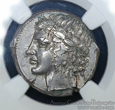 Sicily Leontini 450-420BC silver Tetradrachm NGC MS Ancient Greece Apollo Lion.
