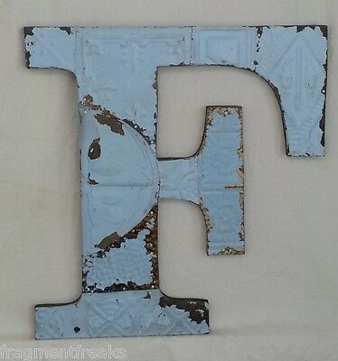 "Large Antique Tin Ceiling Wrapped 16"" Letter 'F' Patchwork Metal Chic Blue"