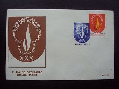 ANGOLA 1979 30º ANIV. HUMAN RIGHTS FDC 1ST DAY COVER