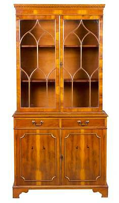 Antique Style Yew Wood Double Door Arched Fretwork Bookcase Bookshelf Cabinet