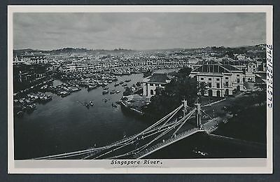 1940 Singapore River (Bustling City View) Real Photo Postcard