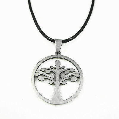 Men Women's Polished Stainless Steel Celtic Tree of Life Pendant Choker Necklace